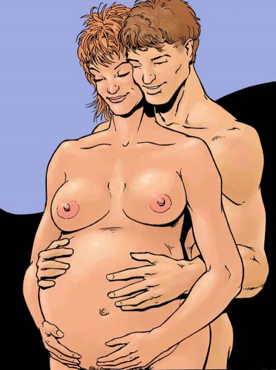 For the Sex during Pregnancy chapter, an illustration of a woman who is pregnant and her partner reaching around her from being and lovingly placing his hands on her belly.