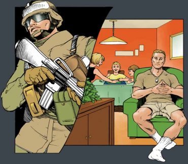 Split image illustration of a soldier in combat on the right side, while sitting in his living room looking alienated on the left side.