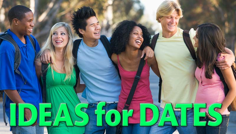 "Three couples laughing, arm in arm, with the caption ""Ideas for dates"""