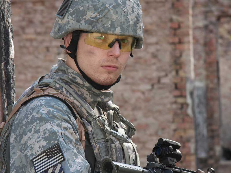 Close up of a soldier in combat.