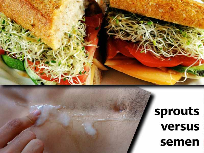 """A split image, with the top side showing a sandwich piled high with bean sprouts, and the lower side with semen on a man's abdomen with a finger in the middle of it. The caption reads """"sprouts versus semen."""""""