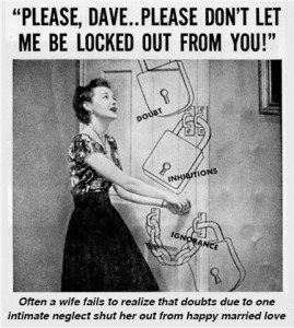 Vintage feminine hygiene ad: Your husband could lock you out if you don't use Lysol to douche with.