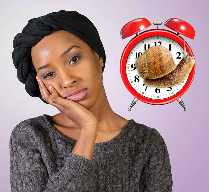 A bored and tired looking woman next to a wind-up clock with a snail superimposed on its face.