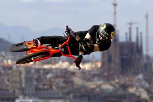 Bike rider in the air at the Extreme Games.