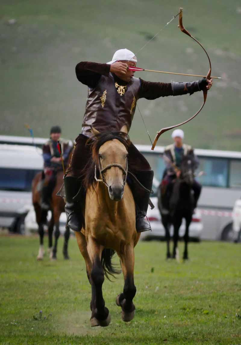 Arrow shooting while riding a galloping horse during the World Nomad Games