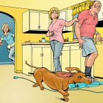 The family wiener dog is running through the kitchen with the daughter's vibrator in its mouth as parents look on in surprise.