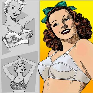 Women wearing bras from bra ads during the 1950s and 1960s.