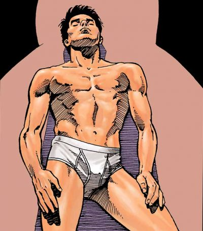 Rendering of a Calvin Klein billboard ad from the early 90s showing a hunky young man in his white Calvin Klein briefs leaning against a wall with his eyes closed.