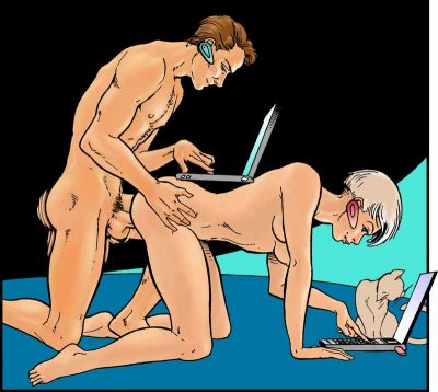 For the chapter Talking To Your Partner About Sex: this illustration is of a couple having rear entry intercourse, with woman on all fours and man on his knees behind her, while both are on their laptops.