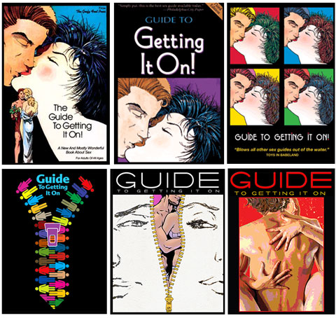 "Covers of earlier editions of the ""Guide To Getting It On"""