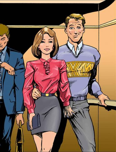 For Sex with a CoWorker Chapter, an illustration of a business woman and man leaving an elevator, with she slyly reaching behind her and grabbing him in the crotch.