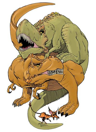 For Kink in the Animal Kingdom, an illustration of two Tyranosaurus Rexes having sex.