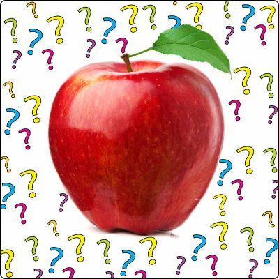 An image of a red apple sitting above a white background full of floating question marks.