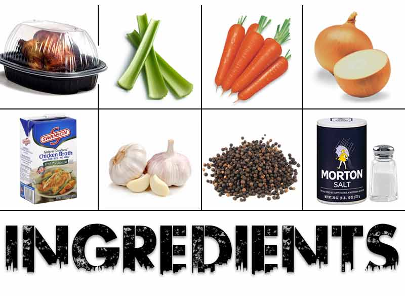 Ingredients of soup with small pictures of a rotisserie chicken, celery, carrots, onions, chicken broth, garlic, peppercorns and salt.