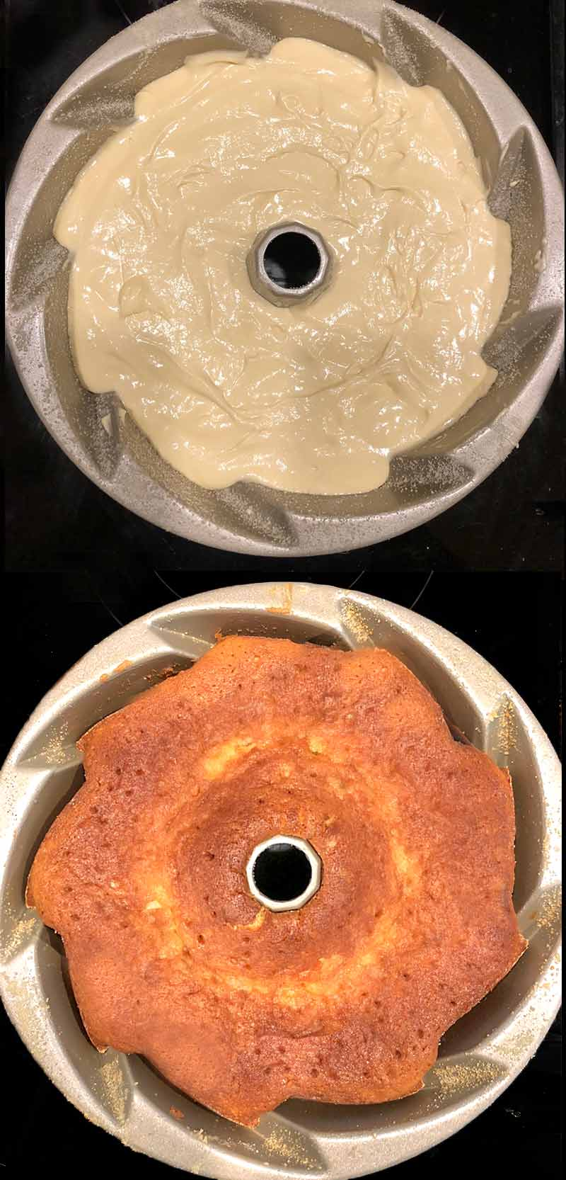 An overhead view showing batter freshly poured into a bundt cake pan, and the same pan with the baked cake in it fresh from the over.