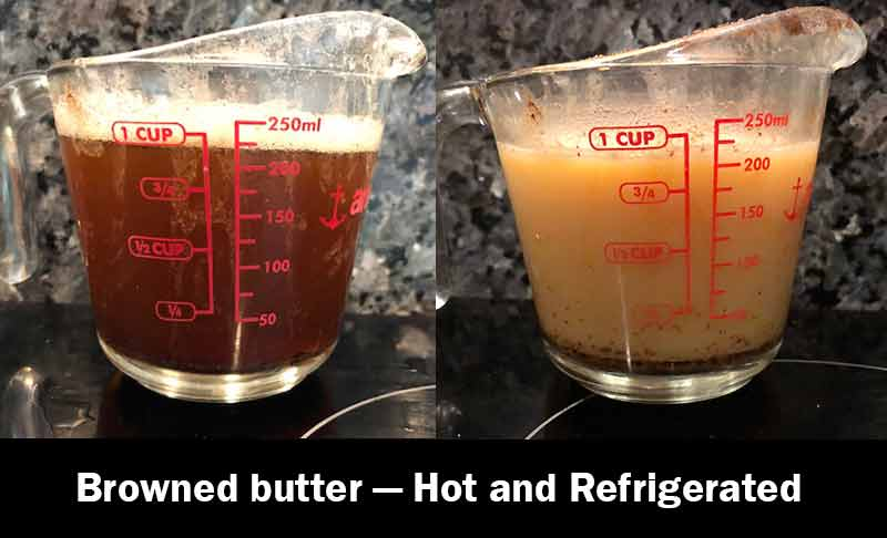 Melted browjed butter in a glass measuring cup next to browned butte that's been refrigerated in the same glass measuring cup.