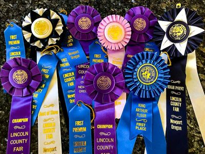 Several ribbons that Dr. Paul won for baking at the county fair.