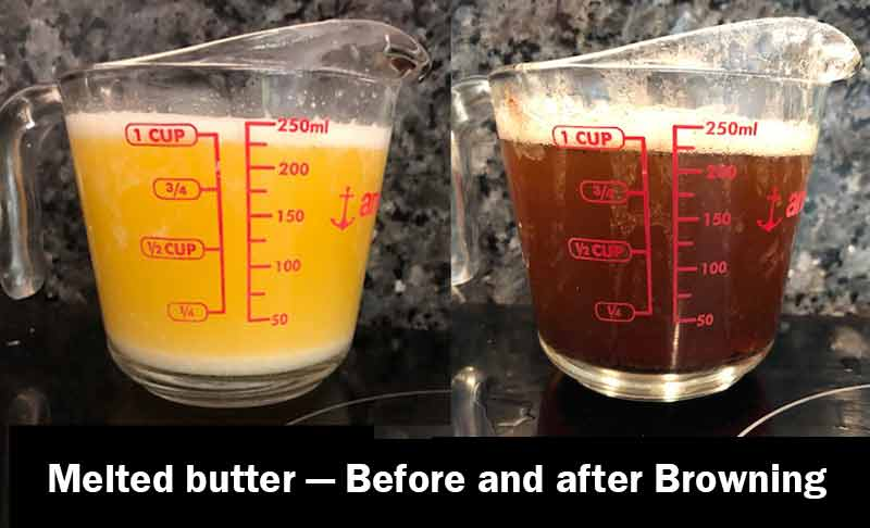 Clear melted butter in a glass measuring cup next to browned butter.