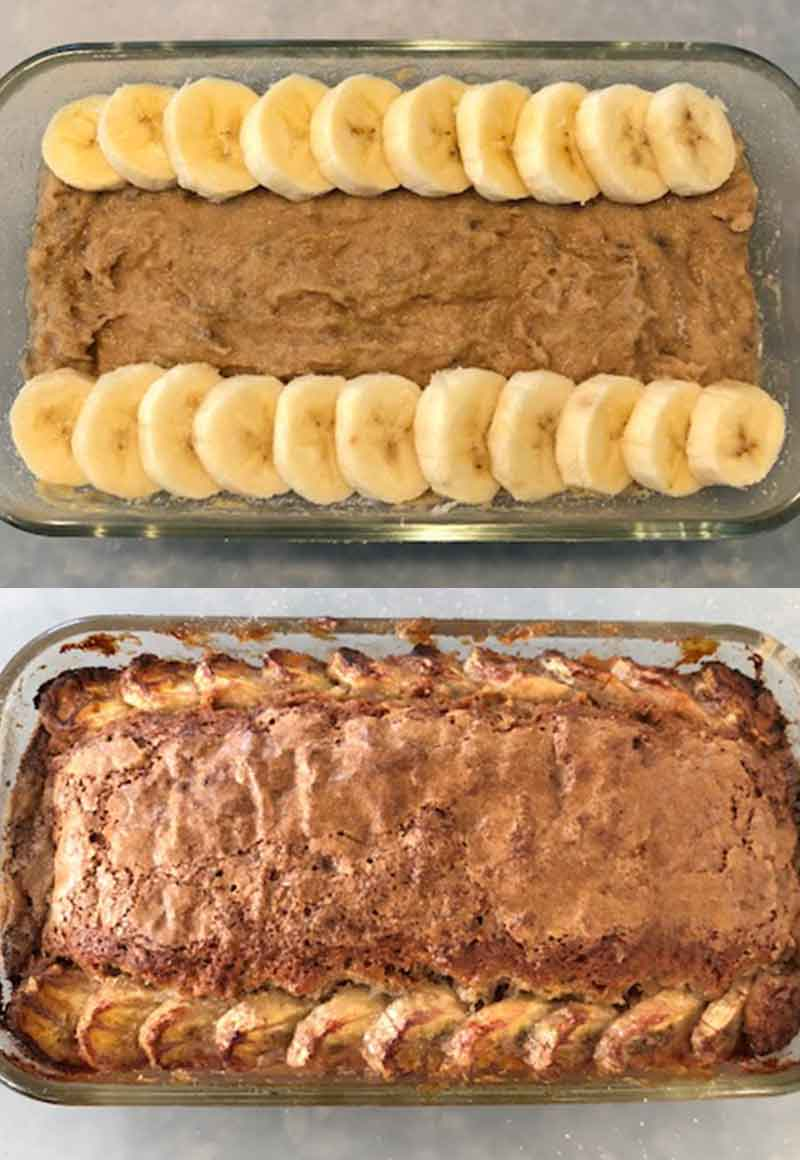 Banana bread batter in a loaf dish with slices of banana lining the sides, with the baked bread below it.