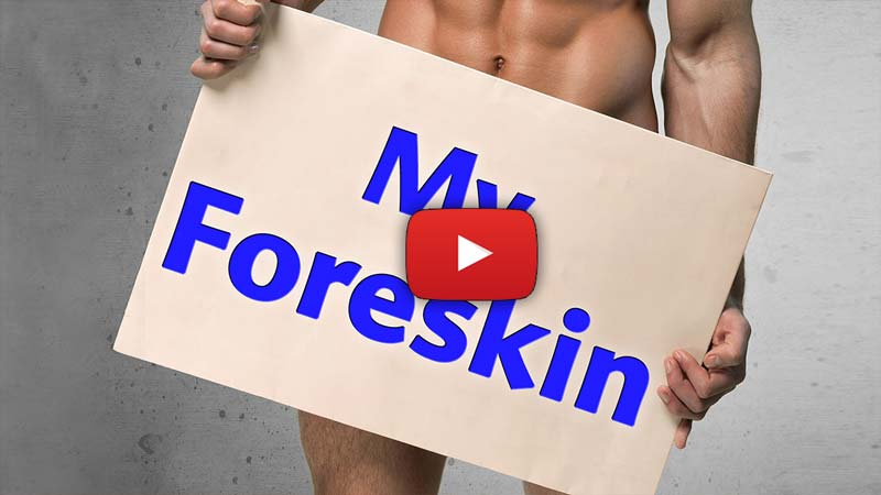 "Naked buff dude holding sign in front of his crotch that says ""My Foreskin."