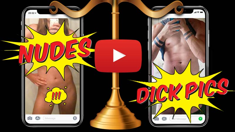 Pic of two cellphones, one with woman nude, one with dick pic, and an old fashioned scale holding them up.